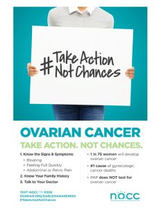 Learn more about ovarian cancer at the National Ovarian Cancer Coalition.